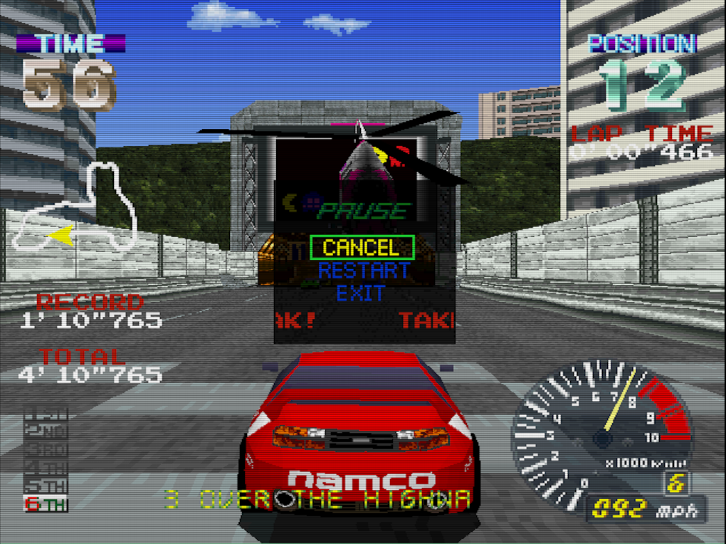 Screenshot of Ridge Racer running in Mednafen PSX libretro core with the Vulkan crt-lanczos shader applied (running on Ivy Bridge Intel Mesa Vulkan driver).